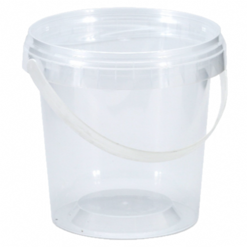 1 LITRE PLASTIC TRANSPARENT ROUND BUCKET WITH LID & HANDLE ARM